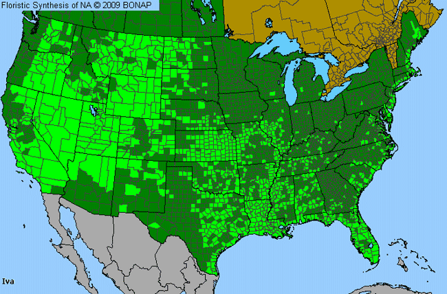 Allergies By County Map For Marsh-Elder