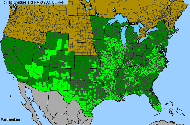 Allergies By County Map For Feverfew