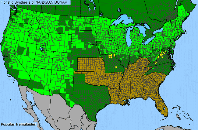 Allergies By County Map For Quaking Aspen