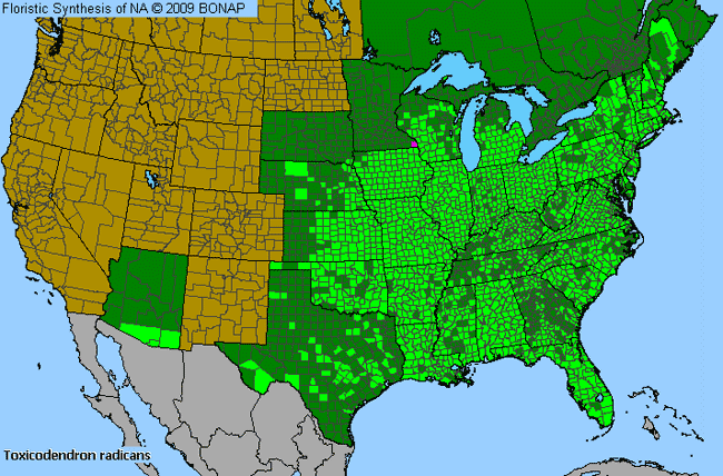Allergies By County Map For Eastern Poison-Ivy
