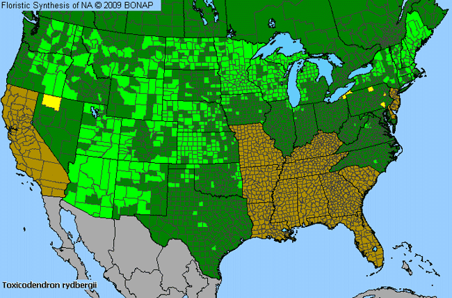 Allergies By County Map For Western Poison-Ivy