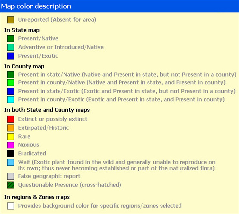 Color Code for Pollen Allergies Map